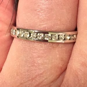 Vintage Silver Eternity Ring w White Crystals 8.0